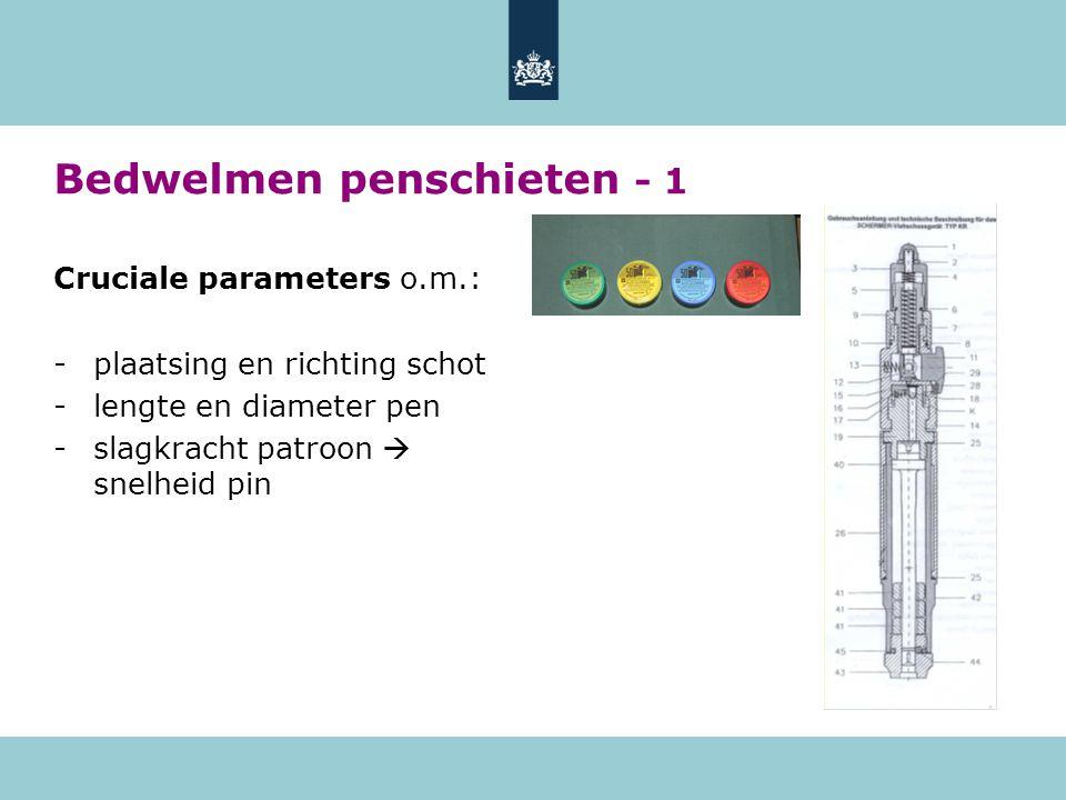 Bedwelmen penschieten - 1 Cruciale parameters o.m.: -plaatsing en richting schot -lengte en diameter pen -slagkracht patroon  snelheid pin