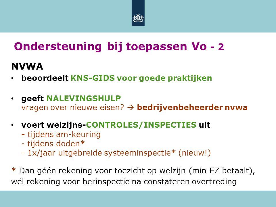 Ondersteuning bij toepassen Vo - 2 NVWA • beoordeelt KNS-GIDS voor goede praktijken • geeft NALEVINGSHULP vragen over nieuwe eisen.