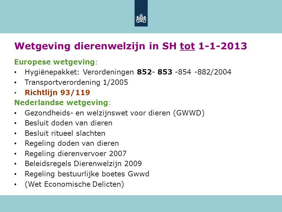 Wetgeving dierenwelzijn in SH vanaf 1-1-2013 Europese wetgeving: • Hygiënepakket: Verordeningen 852-853-854-882/2004 • Transportverordening 1/2005 • Verordening 1099/2009 Nederlandse wetgeving: • Wet Dieren Regeling doden van dieren 2012 Gewijzigd besluit doden van dieren Gewijzigd besluit ritueel slachten Besluit Houders van dieren i.o.: hierin is onder meer het Convenant onbedwelmd ritueel slachten opgenomen Besluit handhaving en overige zaken Wet Dieren i.o.