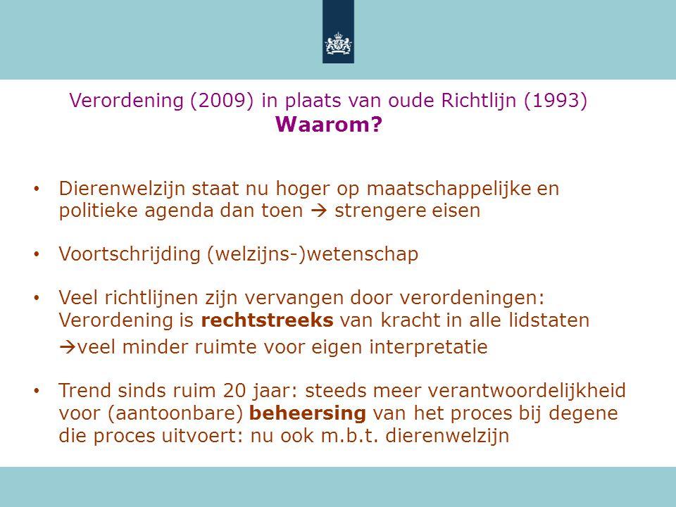 Verordening (2009) in plaats van oude Richtlijn (1993) Waarom? • Dierenwelzijn staat nu hoger op maatschappelijke en politieke agenda dan toen  stren