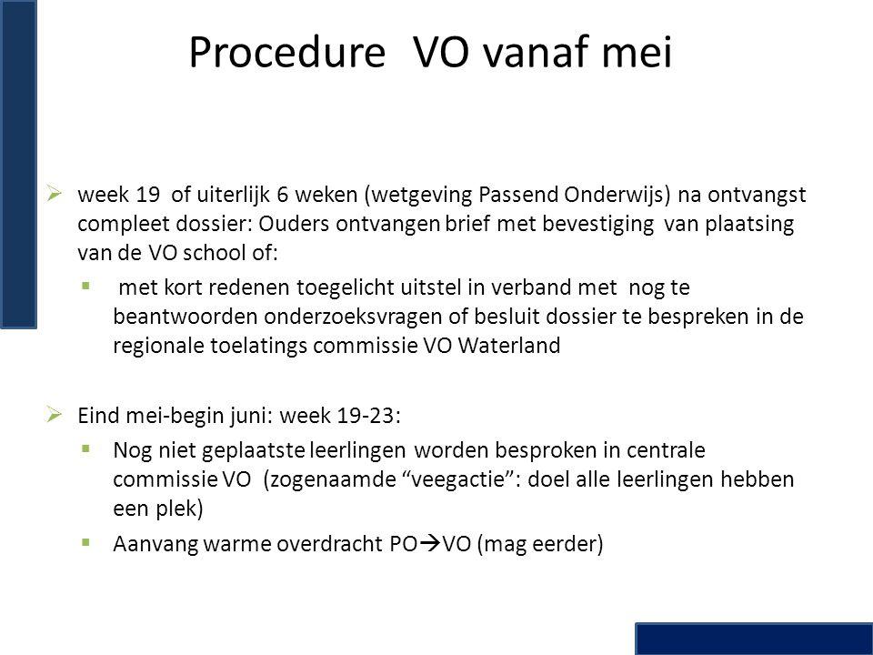 Procedure VO vanaf mei  week 19 of uiterlijk 6 weken (wetgeving Passend Onderwijs) na ontvangst compleet dossier: Ouders ontvangen brief met bevestig