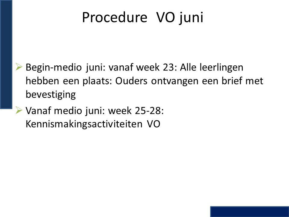 Procedure VO juni  Begin-medio juni: vanaf week 23: Alle leerlingen hebben een plaats: Ouders ontvangen een brief met bevestiging  Vanaf medio juni: