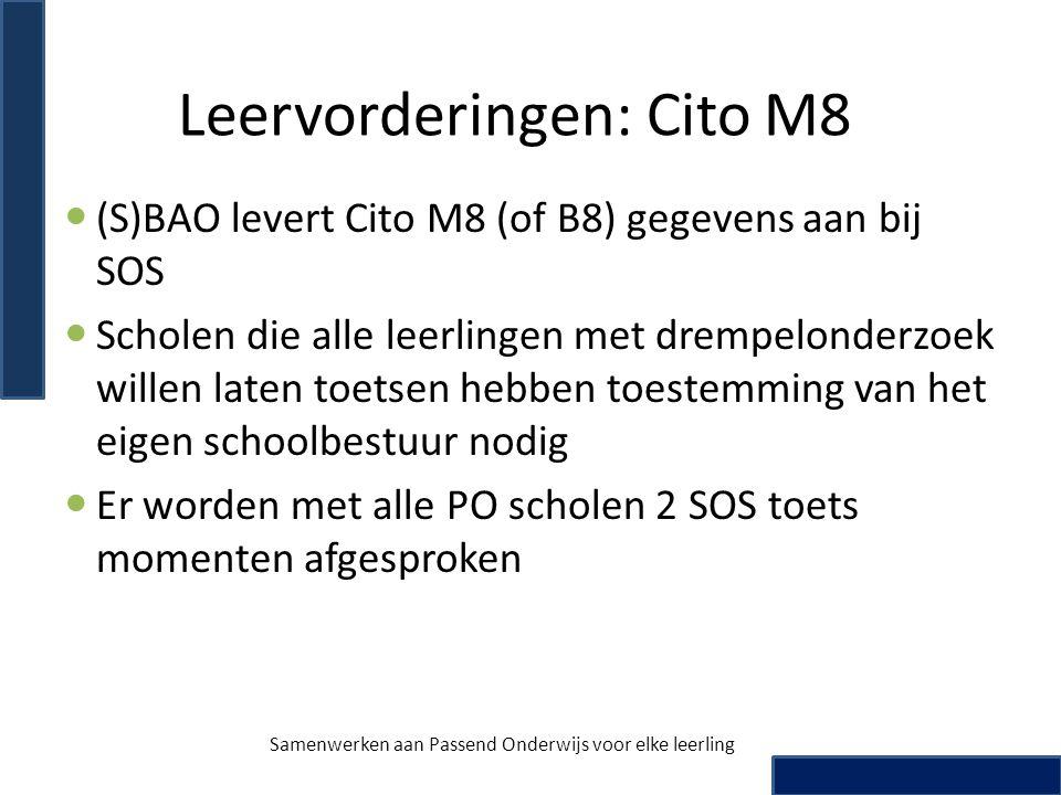 Leervorderingen: Cito M8  (S)BAO levert Cito M8 (of B8) gegevens aan bij SOS  Scholen die alle leerlingen met drempelonderzoek willen laten toetsen