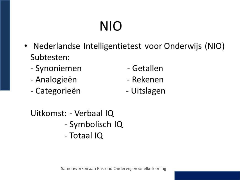 NIO • Nederlandse Intelligentietest voor Onderwijs (NIO) Subtesten: - Synoniemen - Getallen - Analogieën - Rekenen - Categorieën - Uitslagen Uitkomst: