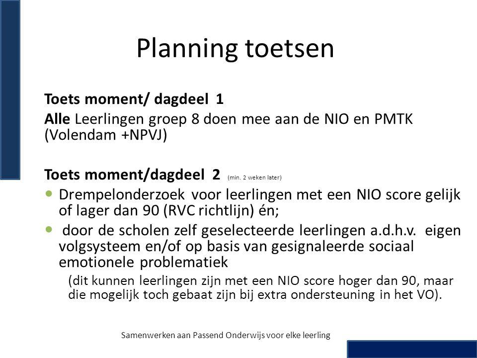 Planning toetsen Toets moment/ dagdeel 1 Alle Leerlingen groep 8 doen mee aan de NIO en PMTK (Volendam +NPVJ) Toets moment/dagdeel 2 (min. 2 weken lat