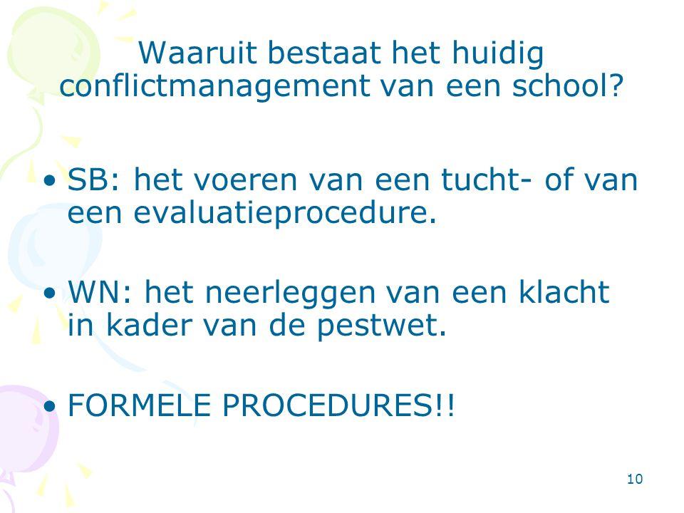 10 Waaruit bestaat het huidig conflictmanagement van een school? •SB: het voeren van een tucht- of van een evaluatieprocedure. •WN: het neerleggen van