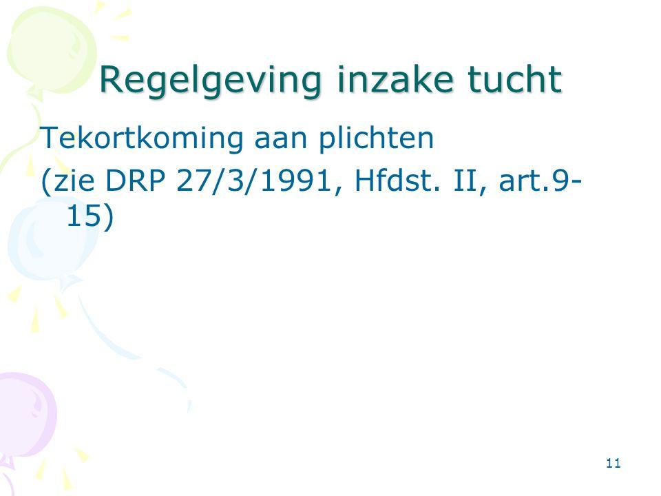 11 Regelgeving inzake tucht Tekortkoming aan plichten (zie DRP 27/3/1991, Hfdst. II, art.9- 15)