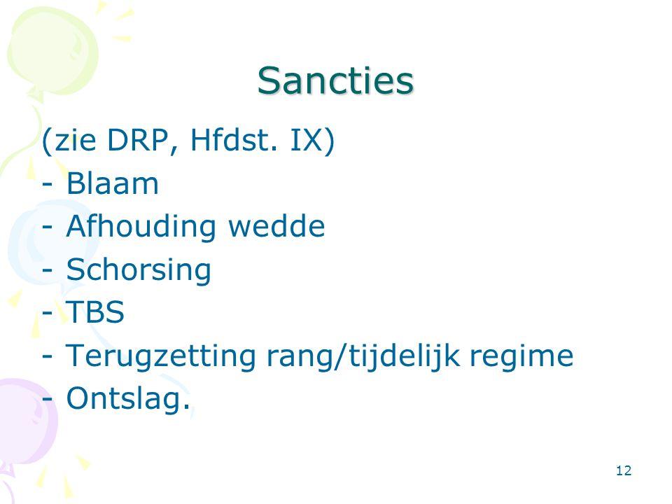 12 Sancties (zie DRP, Hfdst. IX) -Blaam -Afhouding wedde -Schorsing -TBS -Terugzetting rang/tijdelijk regime -Ontslag.