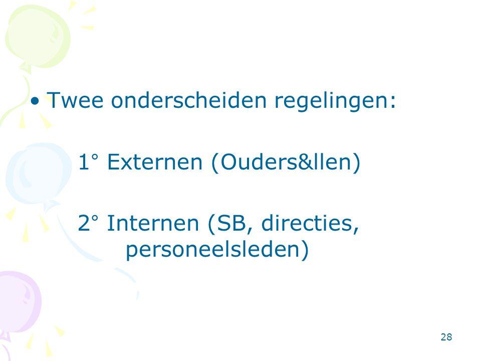 28 •Twee onderscheiden regelingen: 1° Externen (Ouders&llen) 2° Internen (SB, directies, personeelsleden)
