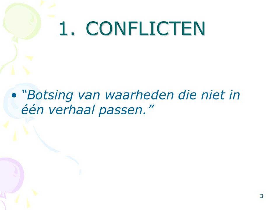 """3 1.CONFLICTEN •""""Botsing van waarheden die niet in één verhaal passen."""""""