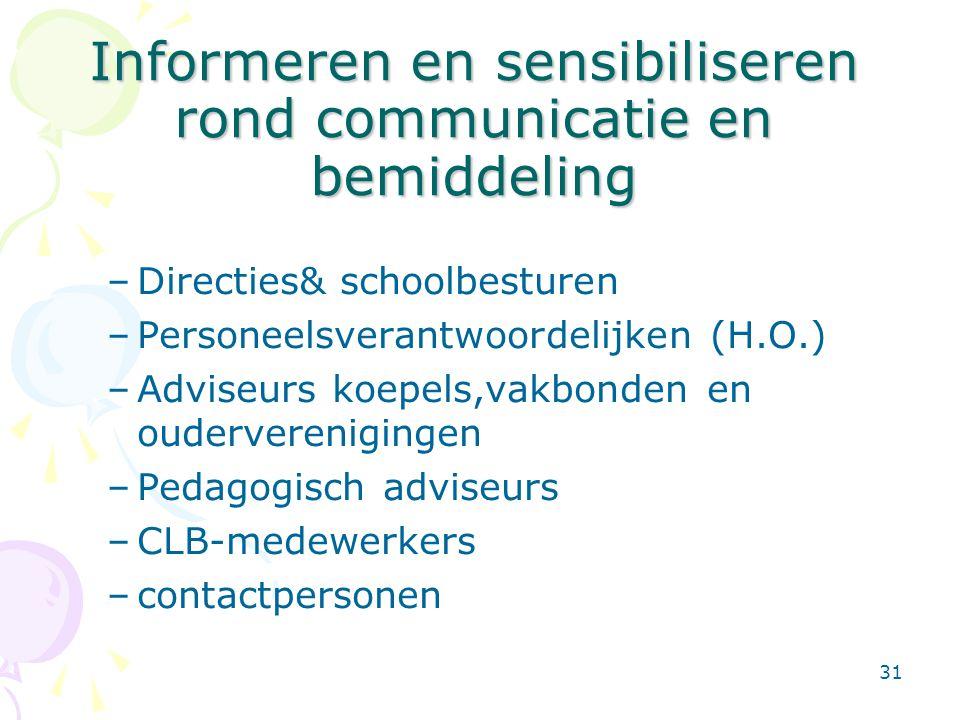31 Informeren en sensibiliseren rond communicatie en bemiddeling –Directies& schoolbesturen –Personeelsverantwoordelijken (H.O.) –Adviseurs koepels,va