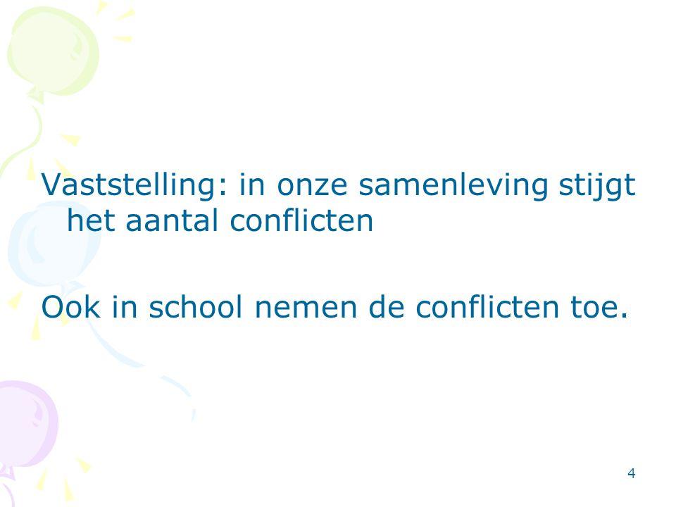 4 Vaststelling: in onze samenleving stijgt het aantal conflicten Ook in school nemen de conflicten toe.