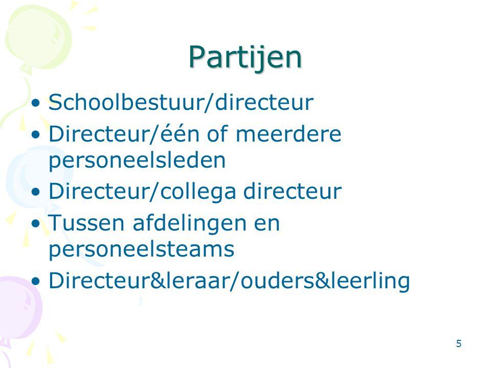 5 Partijen •Schoolbestuur/directeur •Directeur/één of meerdere personeelsleden •Directeur/collega directeur •Tussen afdelingen en personeelsteams •Dir