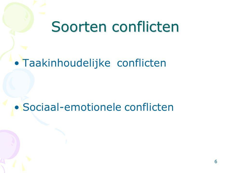 6 Soorten conflicten •Taakinhoudelijke conflicten •Sociaal-emotionele conflicten