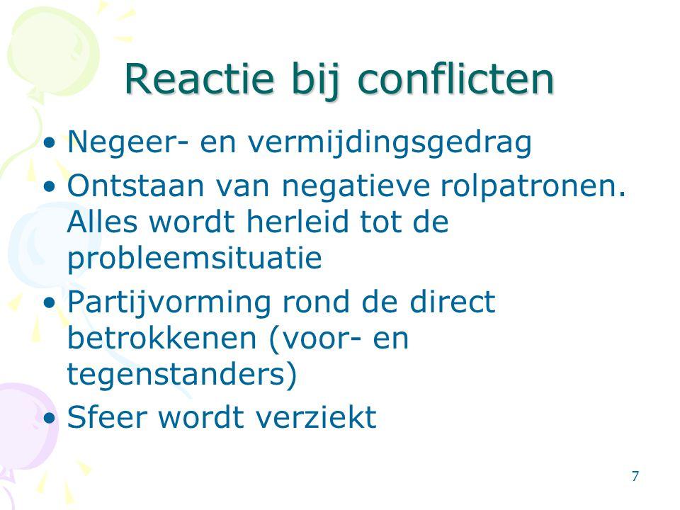 7 Reactie bij conflicten •Negeer- en vermijdingsgedrag •Ontstaan van negatieve rolpatronen. Alles wordt herleid tot de probleemsituatie •Partijvorming