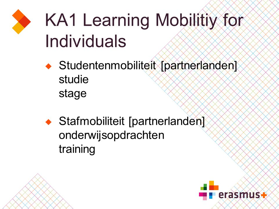 KA1 Learning Mobilitiy for Individuals  Studentenmobiliteit [partnerlanden] studie stage  Stafmobiliteit [partnerlanden] onderwijsopdrachten training