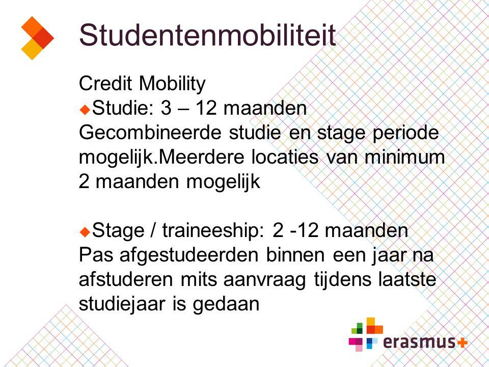 Studentenmobiliteit Credit Mobility  Studie: 3 – 12 maanden Gecombineerde studie en stage periode mogelijk.Meerdere locaties van minimum 2 maanden mogelijk  Stage / traineeship: 2 -12 maanden Pas afgestudeerden binnen een jaar na afstuderen mits aanvraag tijdens laatste studiejaar is gedaan