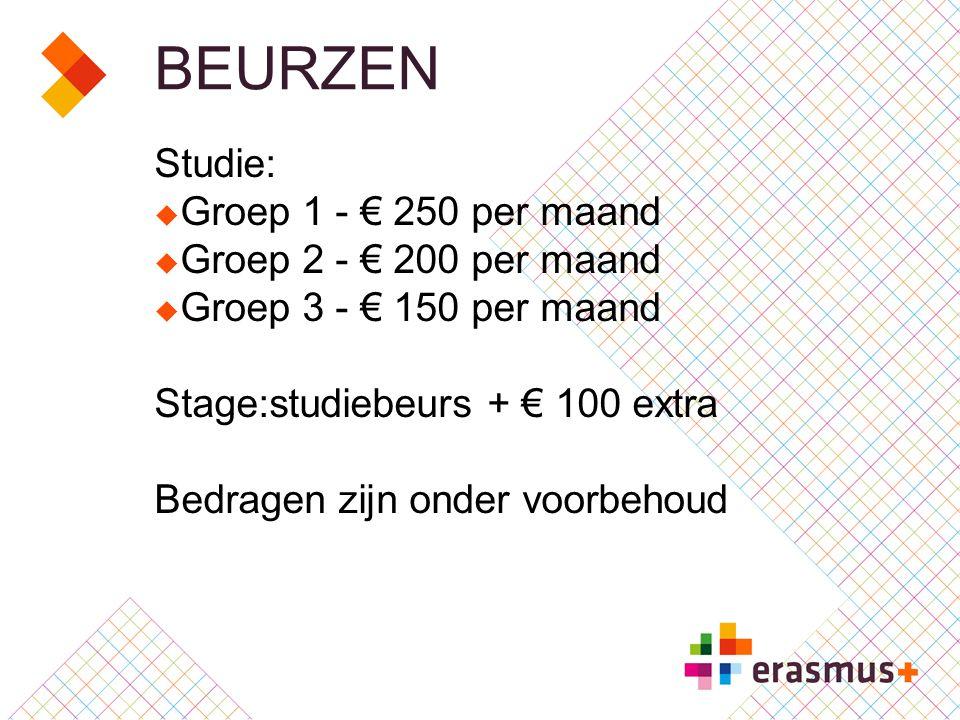 BEURZEN Studie:  Groep 1 - € 250 per maand  Groep 2 - € 200 per maand  Groep 3 - € 150 per maand Stage:studiebeurs + € 100 extra Bedragen zijn onder voorbehoud