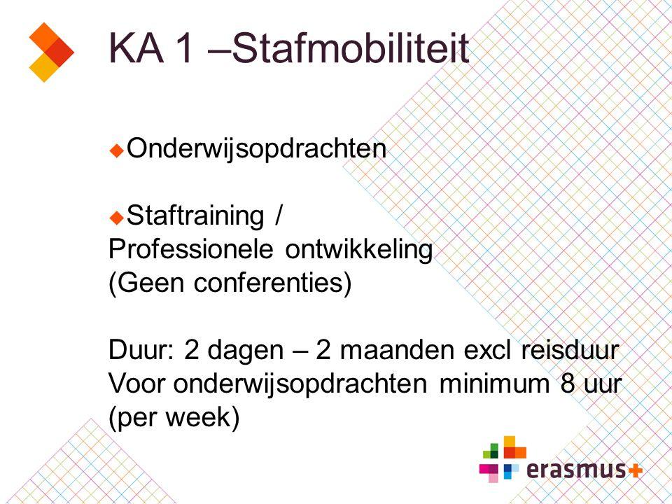 KA 1 –Stafmobiliteit  Onderwijsopdrachten  Staftraining / Professionele ontwikkeling (Geen conferenties) Duur: 2 dagen – 2 maanden excl reisduur Voor onderwijsopdrachten minimum 8 uur (per week)