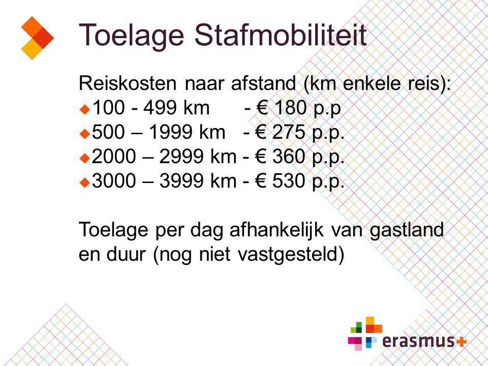 Toelage Stafmobiliteit Reiskosten naar afstand (km enkele reis):  100 - 499 km - € 180 p.p  500 – 1999 km - € 275 p.p.