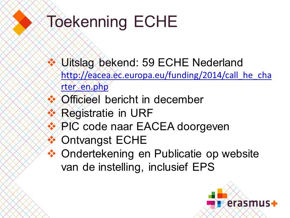 Toekenning ECHE  Uitslag bekend: 59 ECHE Nederland http://eacea.ec.europa.eu/funding/2014/call_he_cha rter_en.php http://eacea.ec.europa.eu/funding/2014/call_he_cha rter_en.php  Officieel bericht in december  Registratie in URF  PIC code naar EACEA doorgeven  Ontvangst ECHE  Ondertekening en Publicatie op website van de instelling, inclusief EPS
