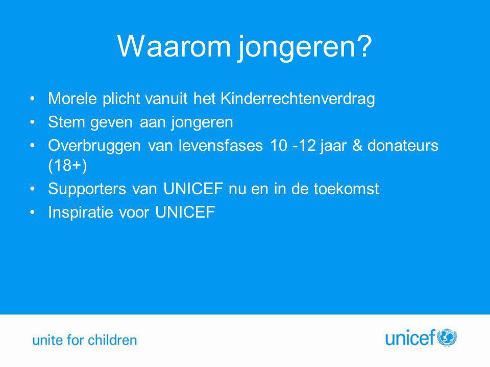 Waarom jongeren? •Morele plicht vanuit het Kinderrechtenverdrag •Stem geven aan jongeren •Overbruggen van levensfases 10 -12 jaar & donateurs (18+) •S