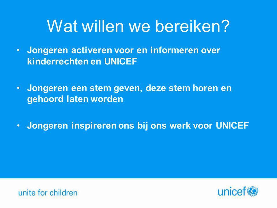 Wat willen we bereiken? •Jongeren activeren voor en informeren over kinderrechten en UNICEF •Jongeren een stem geven, deze stem horen en gehoord laten