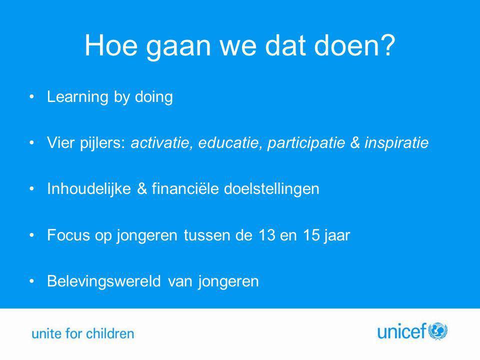 Hoe gaan we dat doen? •Learning by doing •Vier pijlers: activatie, educatie, participatie & inspiratie •Inhoudelijke & financiële doelstellingen •Focu