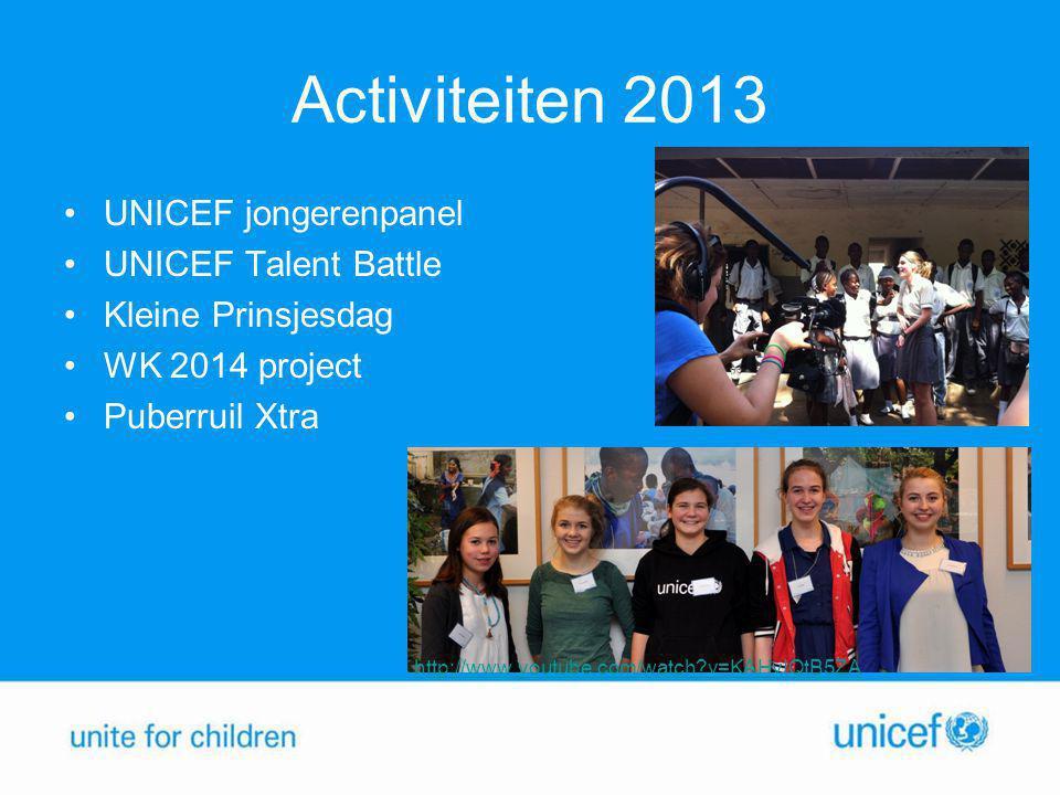 Activiteiten 2013 •UNICEF jongerenpanel •UNICEF Talent Battle •Kleine Prinsjesdag •WK 2014 project •Puberruil Xtra http://www.youtube.com/watch?v=KAHv