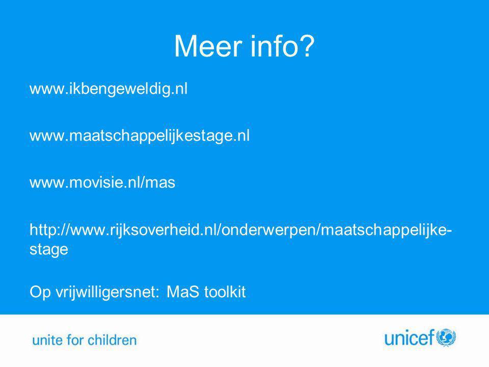 Meer info? www.ikbengeweldig.nl www.maatschappelijkestage.nl www.movisie.nl/mas http://www.rijksoverheid.nl/onderwerpen/maatschappelijke- stage Op vri