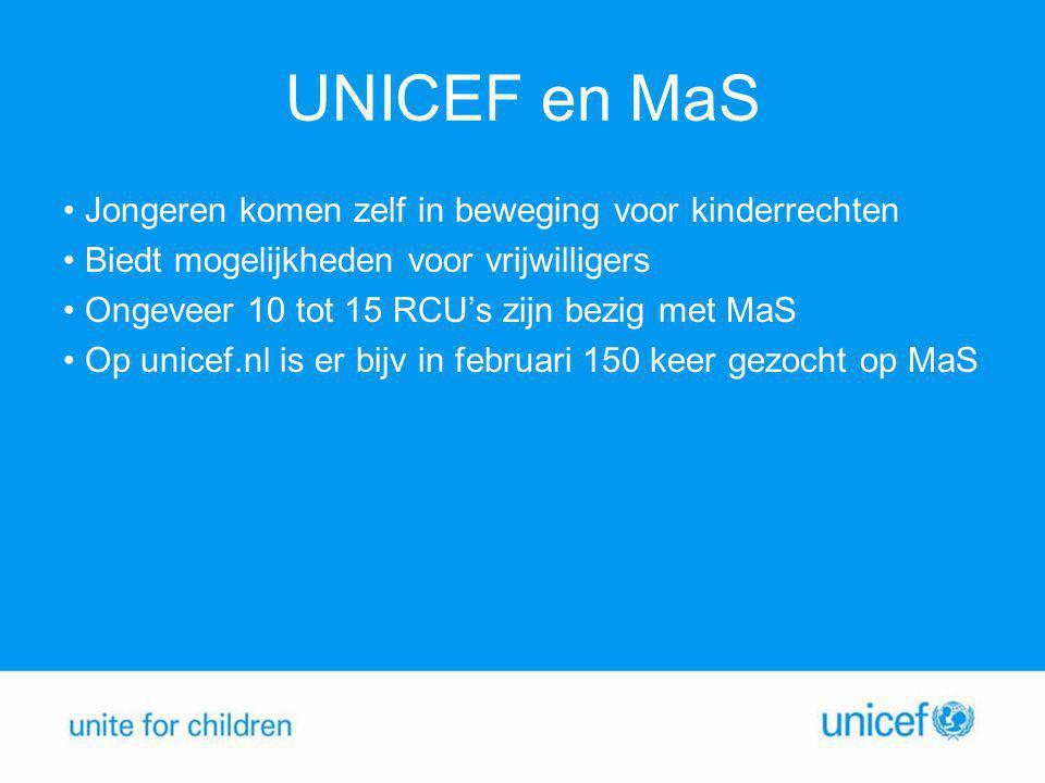 UNICEF en MaS • Jongeren komen zelf in beweging voor kinderrechten • Biedt mogelijkheden voor vrijwilligers • Ongeveer 10 tot 15 RCU's zijn bezig met