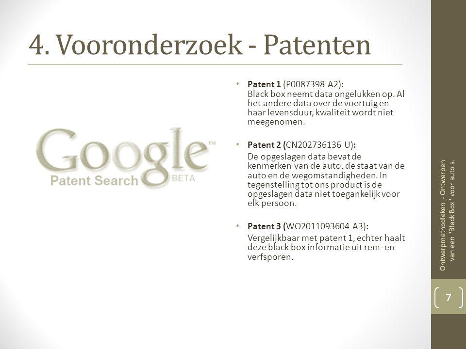 4.Vooronderzoek - Patenten • Patent 1 (P0087398 A2): Black box neemt data ongelukken op.