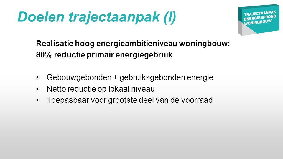 Doelen trajectaanpak (I) Realisatie hoog energieambitieniveau woningbouw: 80% reductie primair energiegebruik •Gebouwgebonden + gebruiksgebonden energie •Netto reductie op lokaal niveau •Toepasbaar voor grootste deel van de voorraad