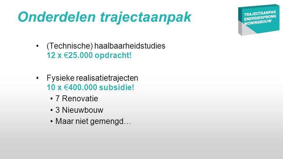 Onderdelen trajectaanpak •(Technische) haalbaarheidstudies 12 x €25.000 opdracht.