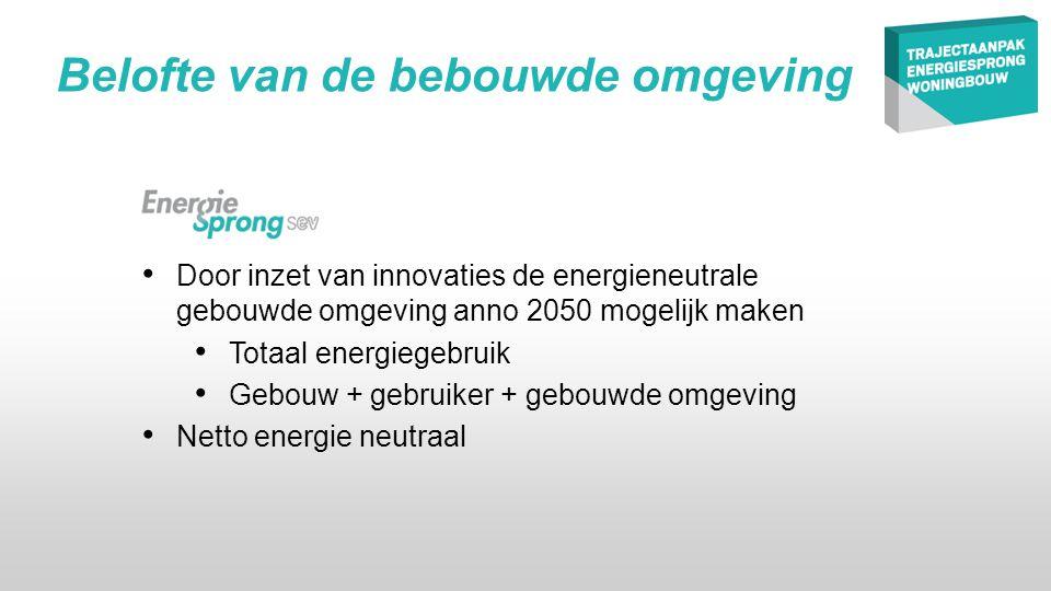 • Door inzet van innovaties de energieneutrale gebouwde omgeving anno 2050 mogelijk maken • Totaal energiegebruik • Gebouw + gebruiker + gebouwde omgeving • Netto energie neutraal Belofte van de bebouwde omgeving