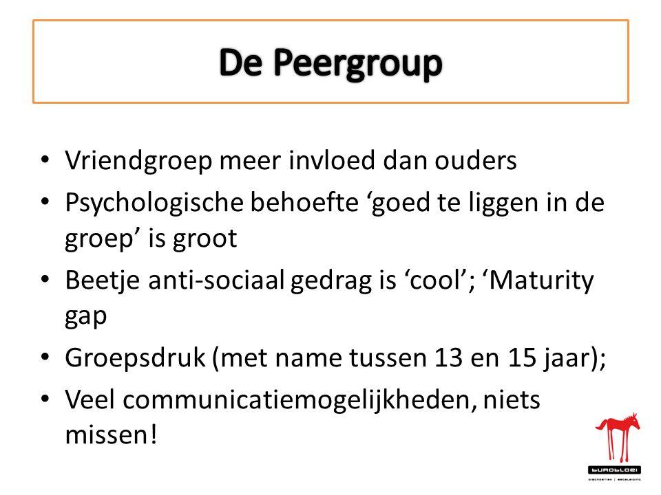 • Vriendgroep meer invloed dan ouders • Psychologische behoefte 'goed te liggen in de groep' is groot • Beetje anti-sociaal gedrag is 'cool'; 'Maturit