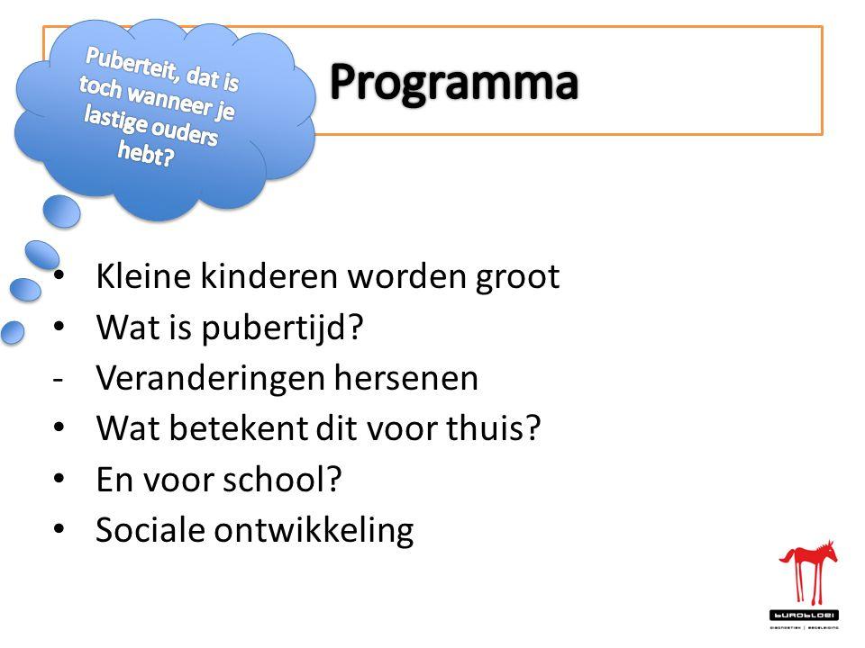 • Kleine kinderen worden groot • Wat is pubertijd? -Veranderingen hersenen • Wat betekent dit voor thuis? • En voor school? • Sociale ontwikkeling