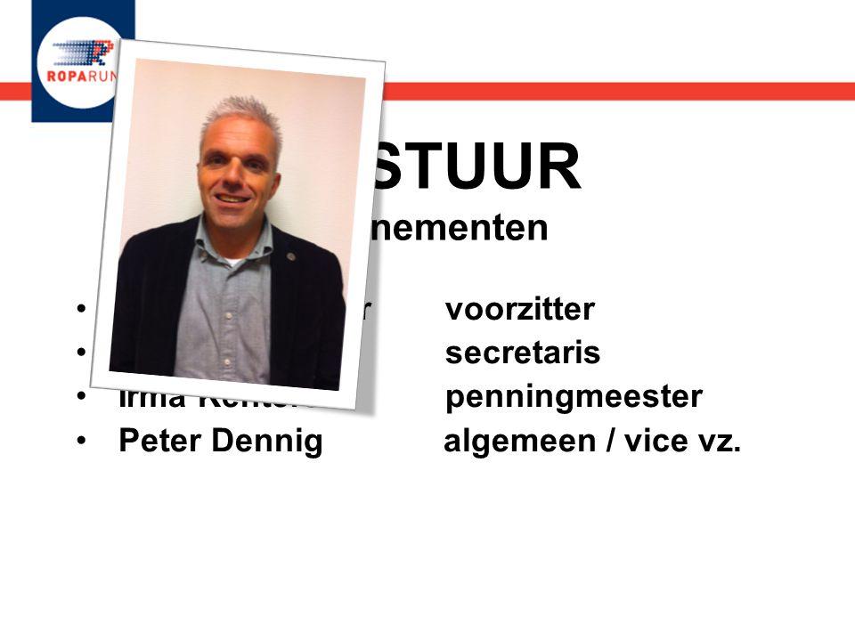 BESTUUR evenementen •Martin den Boer voorzitter •Judith Somers secretaris •Irma Kenters penningmeester •Peter Dennig algemeen / vice vz. •Martin den B