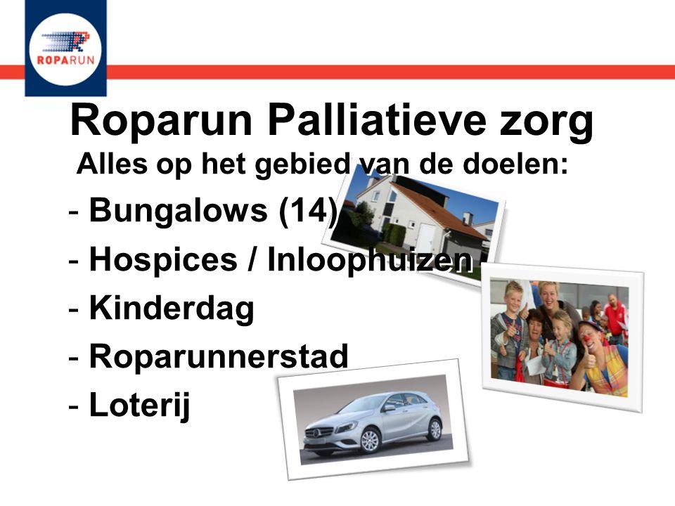 Roparun Palliatieve zorg Alles op het gebied van de doelen: - Bungalows (14) - Hospices / Inloophuizen - Kinderdag - Roparunnerstad - Loterij Alles op