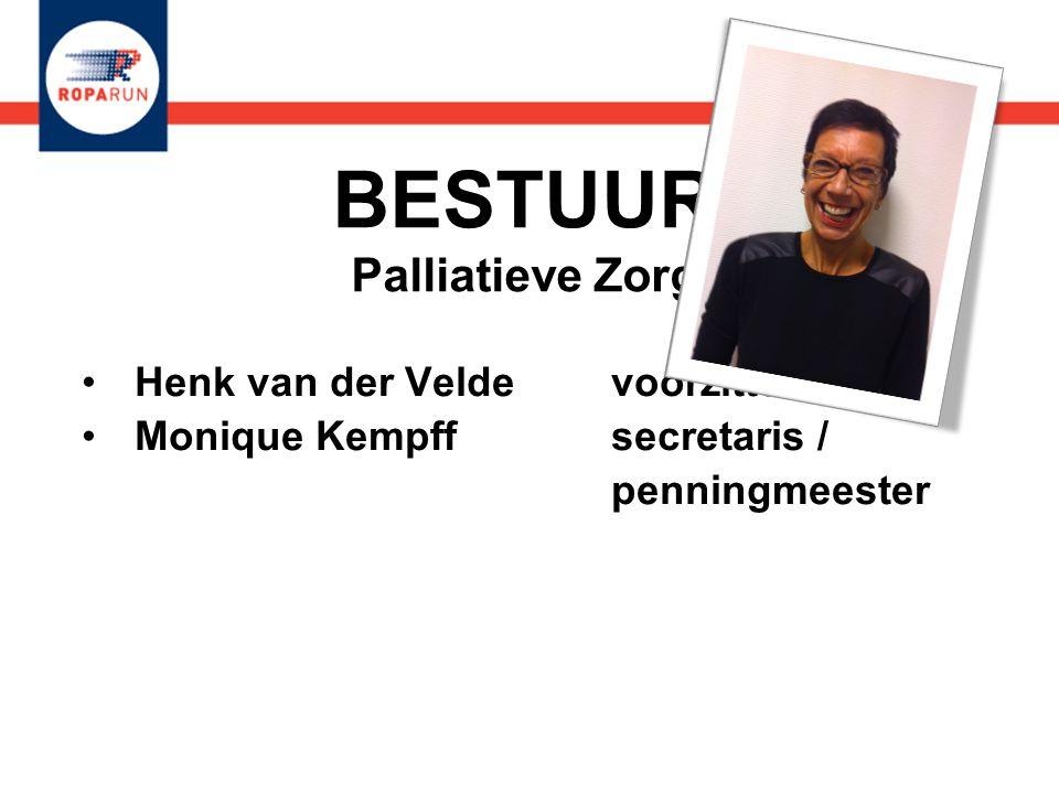 BESTUUR Palliatieve Zorg •Henk van der Velde voorzitter •Monique Kempff secretaris / penningmeester •Henk van der Velde voorzitter •Monique Kempff sec