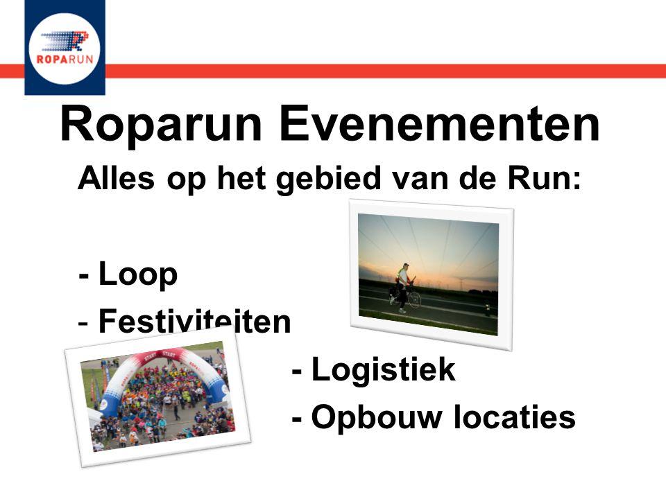 Roparun Evenementen Alles op het gebied van de Run: - Loop - Festiviteiten - Logistiek - Opbouw locaties Alles op het gebied van de Run: - Loop - Fest