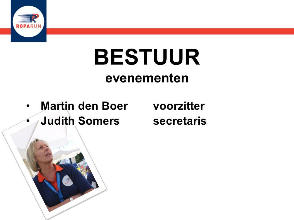 BESTUUR evenementen •Martin den Boer voorzitter •Judith Somers secretaris •Martin den Boer voorzitter •Judith Somers secretaris