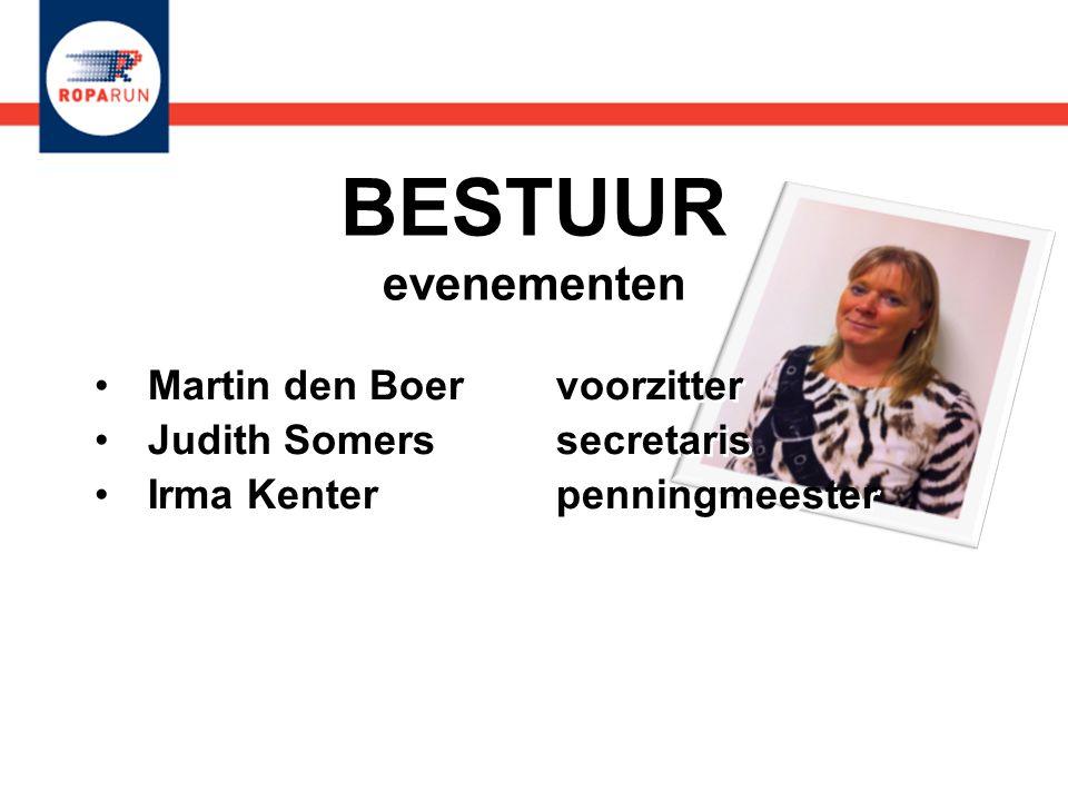 BESTUUR evenementen •Martin den Boer voorzitter •Judith Somers secretaris •Irma Kenter penningmeester •Martin den Boer voorzitter •Judith Somers secre