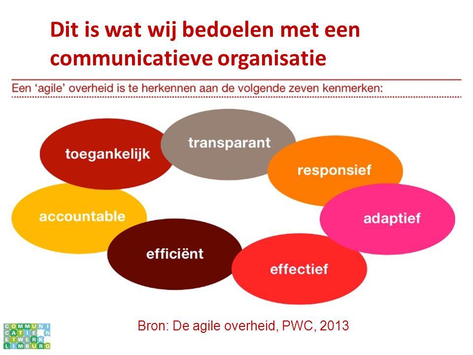 Bron: De agile overheid, PWC, 2013 Dit is wat wij bedoelen met een communicatieve organisatie