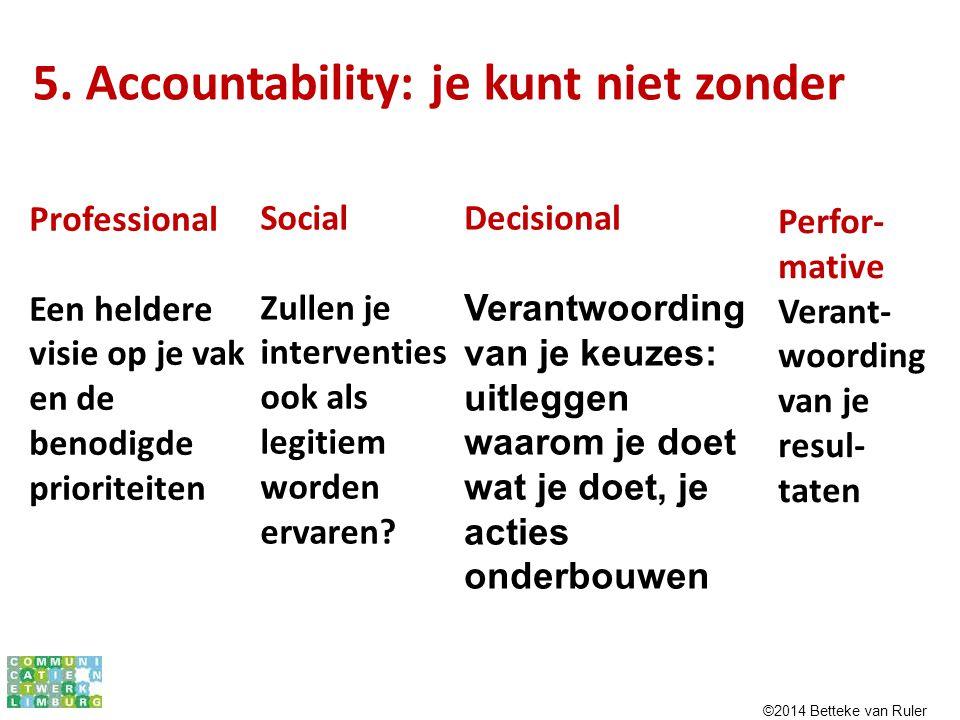 5. Accountability: je kunt niet zonder Professional Een heldere visie op je vak en de benodigde prioriteiten Social Zullen je interventies ook als leg
