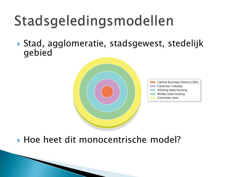  Stad, agglomeratie, stadsgewest, stedelijk gebied  Hoe heet dit monocentrische model?