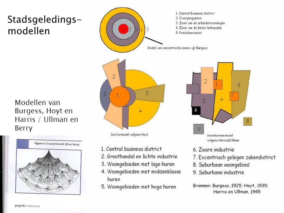 Stadsgeledings- modellen Modellen van Burgess, Hoyt en Harris / Ullman en Berry