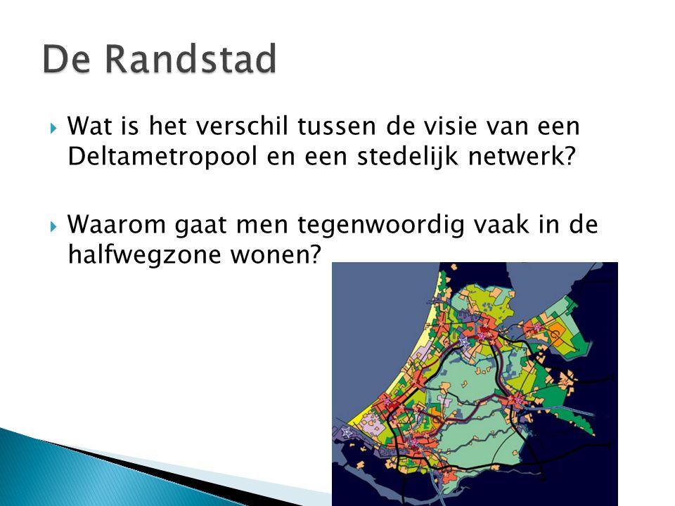  Wat is het verschil tussen de visie van een Deltametropool en een stedelijk netwerk?  Waarom gaat men tegenwoordig vaak in de halfwegzone wonen?