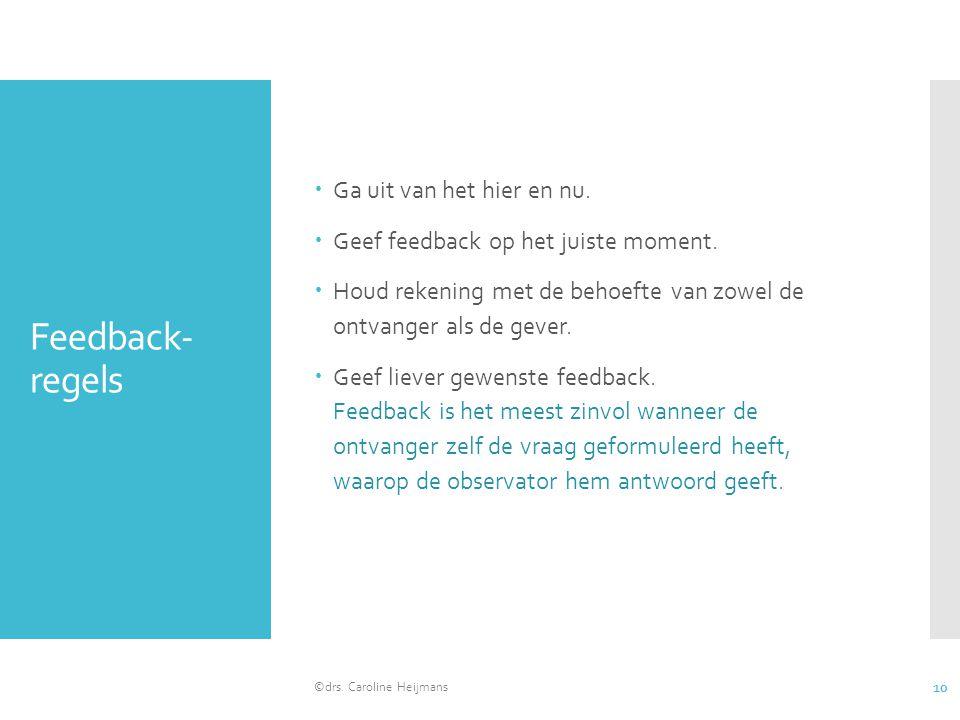 Feedback- regels  Ga uit van het hier en nu.  Geef feedback op het juiste moment.  Houd rekening met de behoefte van zowel de ontvanger als de geve