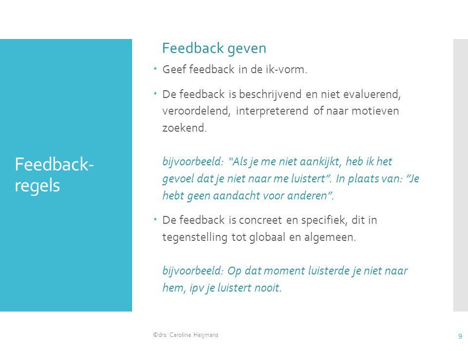 Feedback- regels  Geef feedback in de ik-vorm.  De feedback is beschrijvend en niet evaluerend, veroordelend, interpreterend of naar motieven zoeken
